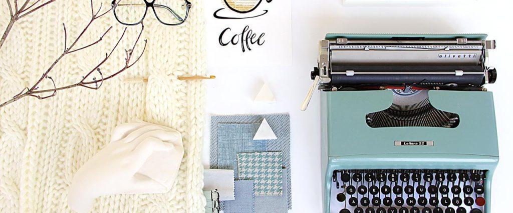 moodboard con macchina da scrivere Olivetti lettera 22